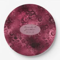 Burgundy Glam Foil Glitter Damask Wedding Paper Plate