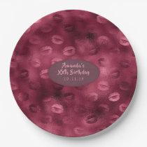 Burgundy Glam Foil Glitter Lips Paper Plate