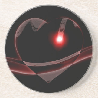 Burgundy Glass Heart Reflects Light Coaster