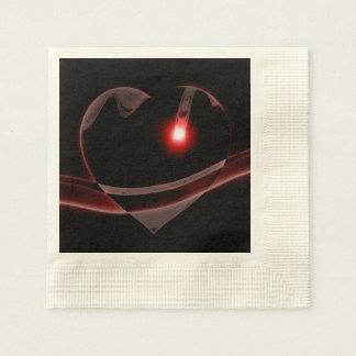Burgundy Glass Heart Reflects Light Disposable Napkin
