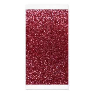 Burgundy glitter customised photo card