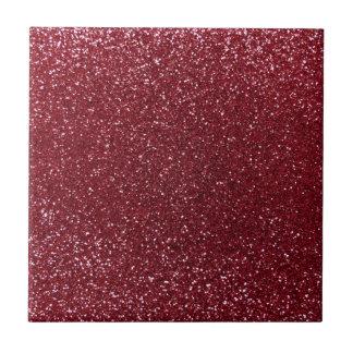 Burgundy glitter small square tile