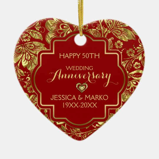 Burgundy & Gold 50th Wedding Anniversary Christmas Ornament
