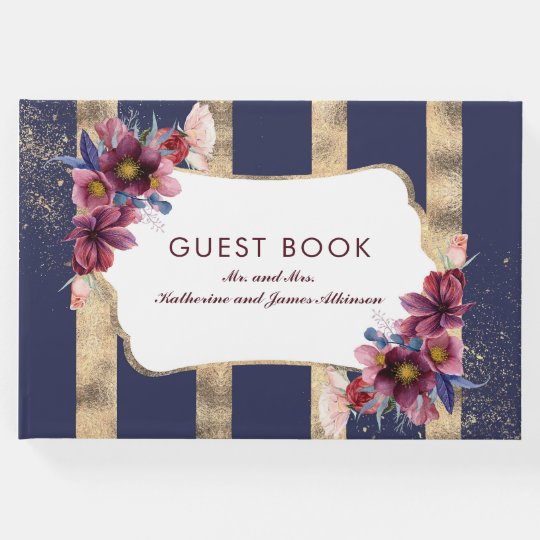 Burgundy Gold and Navy Floral Stripes Wedding Guest