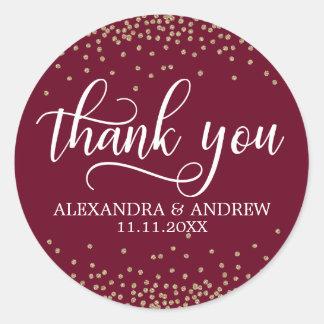 Burgundy Gold Confetti Wedding Thank You Classic Round Sticker