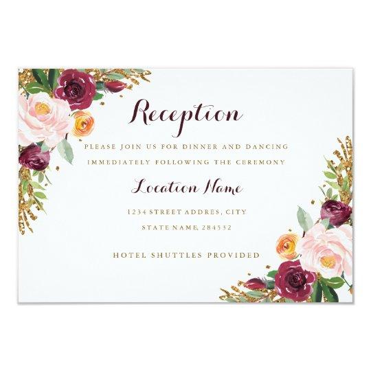 Burgundy Gold Floral Glitter Wedding Reception Card