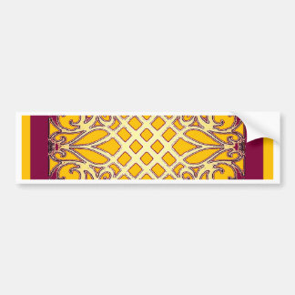 Burgundy-Gold French Abarbesque Pattern by Sharles Car Bumper Sticker