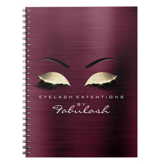 Burgundy Gold Glitter Eyes Makeup Beauty Branding Notebook