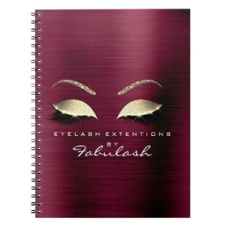 Burgundy Gold Glitter Eyes Makeup Beauty Luxury Spiral Notebook