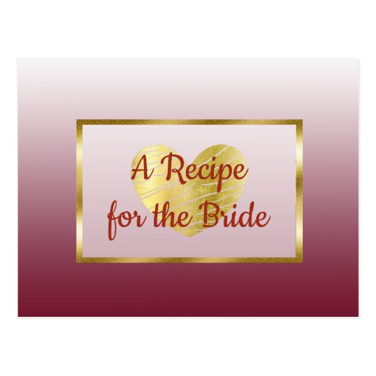 Burgundy & Gold Gradient wedding Recipe Card