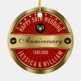 Burgundy & Gold Hearts 50th Wedding Anniversary Round Ceramic Decoration