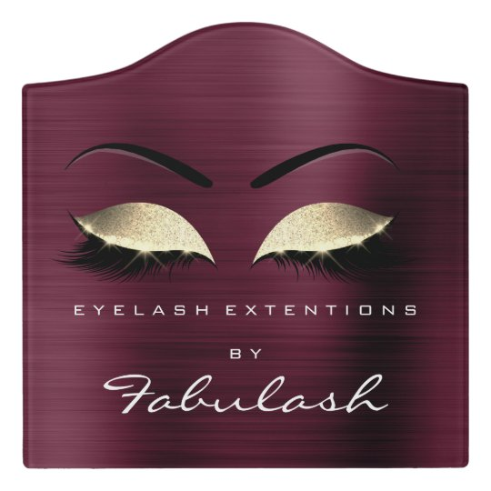 Burgundy Gold Luxury Beauty Salon Lashes Makeup Door