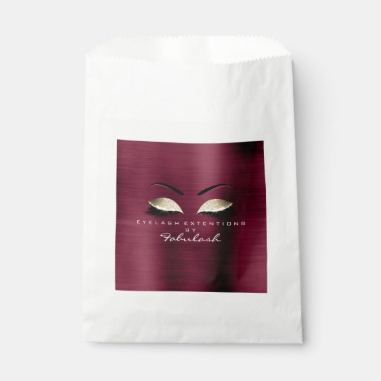 Burgundy Gold Makeup Artist Stylist Lashes Favour Bags