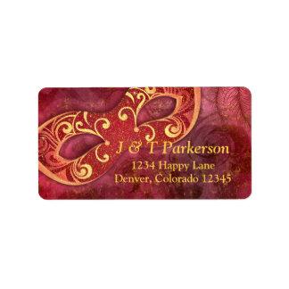 Burgundy Gold Masquerade Wedding Address Label