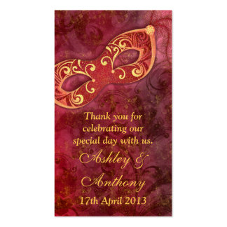 Burgundy Gold Masquerade Wedding Favour Tags Business Cards
