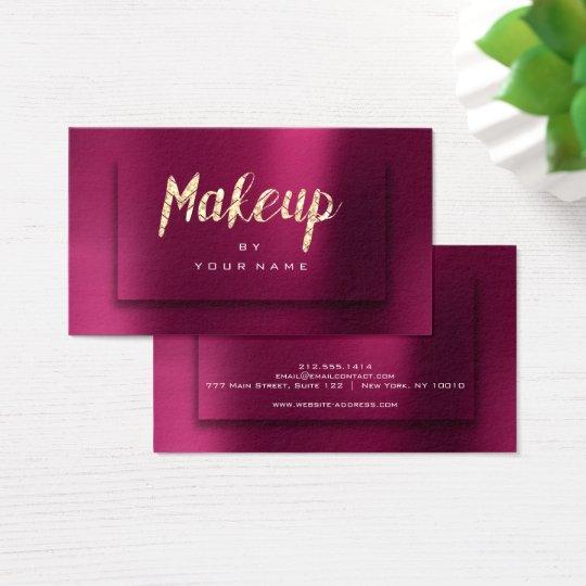 Burgundy Gold Metallic Typograph Makeup Artist 3D Business