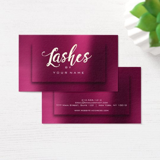 Burgundy Gold Metallic Typograph Makeup Lashes 3D Business