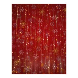 Burgundy Gold Sparkling Snow Flakes Full Color Flyer