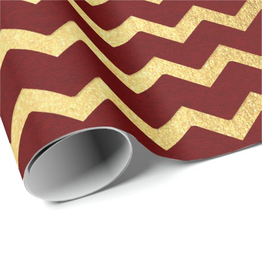 Burgundy Gold Stripes Lines Zig Zag Chevron Wrapping