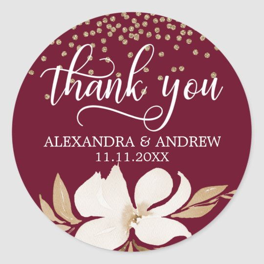 Burgundy Gold Watercolor Floral Wedding Thank You Classic