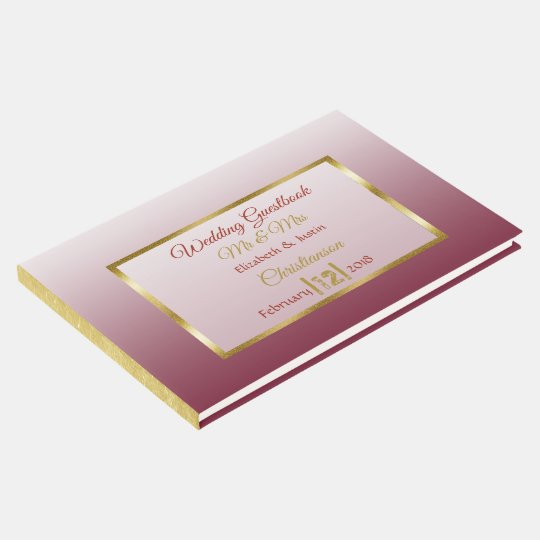 Burgundy Gradient and Gold Heart Wedding Book