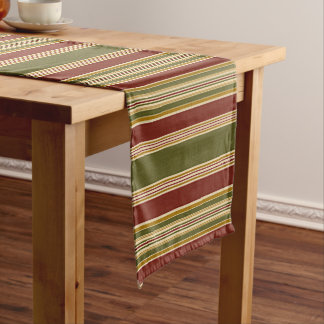 Burgundy Green Ivory Ochre Yellow Stripes Pattern Long Table Runner