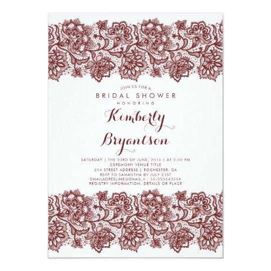 Burgundy Lace Elegant Vintage Bridal Shower Card