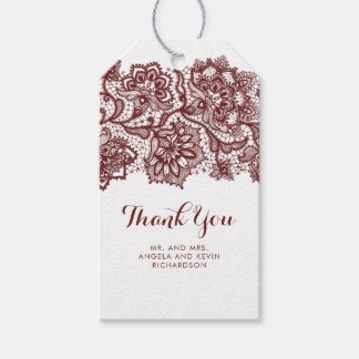 Burgundy Lace Elegant Wedding Gift Tags