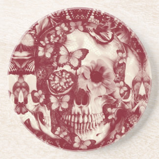 Burgundy Lace skull pattern Beverage Coasters