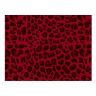 Burgundy leopard print pattern postcard