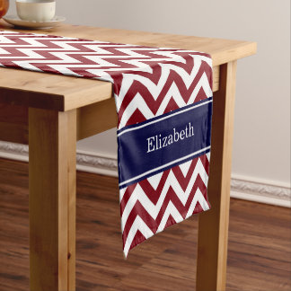 Burgundy Lg Chevron Navy Blue Name Monogram Short Table Runner