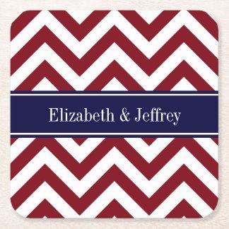 Burgundy Lg Chevron Navy Blue Name Monogram Square Paper Coaster