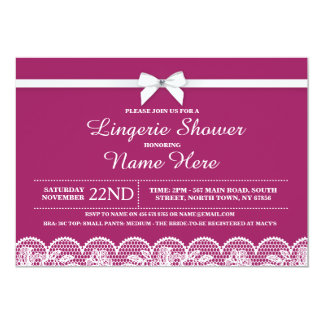 Burgundy Lingerie Bridal Shower Lace Invitation