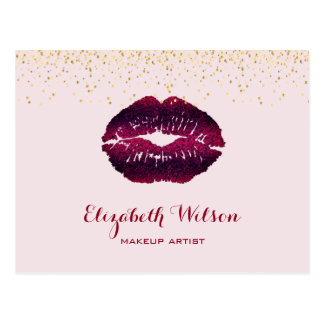 burgundy lips makeup artist postcard