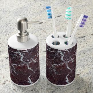 Burgundy marble soap dispenser and toothbrush holder