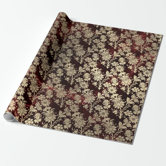 Burgundy Marble Sparkly Black Floral Gold Faux Wrapping