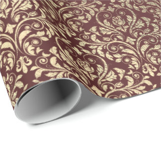 Burgundy Maroon Damask Royal Gold Foxier VIP Wrapping Paper