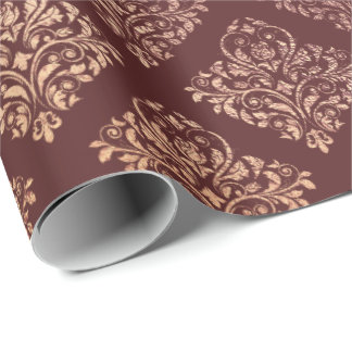 Burgundy Maroon Damask Royal Pink Rose Gold Wrapping Paper