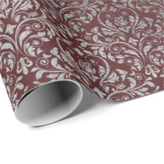 Burgundy Maroon Damask Royal Silver Gray VIP Wrapping Paper