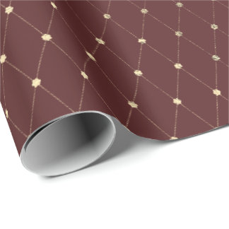 Burgundy Maroon Diamond Cut Gold Foxier VIP Wrapping Paper