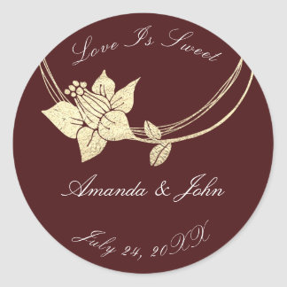 Burgundy Maroon Flower Save the Date Love Sweet 1 Classic Round Sticker