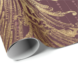 Burgundy Maroon Gold Damask Bridal Royal Ornamenta Wrapping Paper
