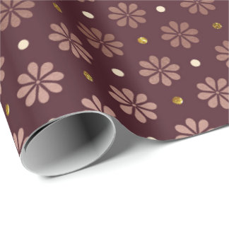Burgundy Maroon  Gold Delicate Daisy Flower Dots Wrapping Paper