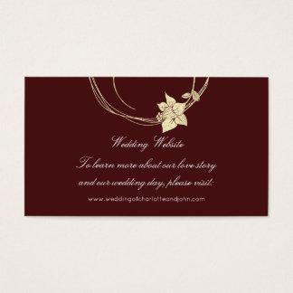 Burgundy Maroon Gold Floral Wedding Website1 Business Card