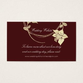 Burgundy Maroon Gold Floral Wedding Website Business Card