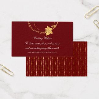 Burgundy Maroon Gold Floral Wedding Website Red Business Card