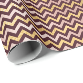 Burgundy Maroon Gold Ivory Stripes Lines Chevron Wrapping Paper