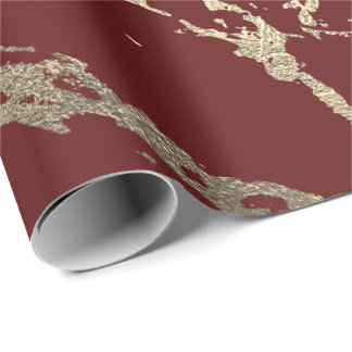 Burgundy Maroon Gold Marble Shiny Glam Wrapping Paper