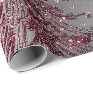 Burgundy Maroon Royal Floral Hearts Damask Silver Wrapping Paper