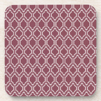 Burgundy Maroon & White Retro Pattern Coasters